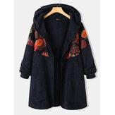 Mangas compridas de mangas compridas étnicas com estampa floral vintage com capuz Plus casacos para mulheres