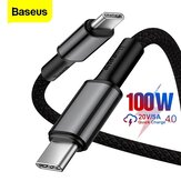 Baseus 100W USB-C to USB-C Cable Power Delivery High Density Nylon Braided Data Transmission Cord Line For Samsung Galaxy Note 20 Ultra For iPad Pro 2020 MacBook Air 2020 Huawei P40 Mi10
