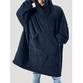 Mens Flannel Thicken Oversized Kangaroo Pocket Blanket Hoodies Warm Homewear