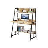 Moderne computer laptop bureau computer tafel kantoortafel met opbergplanken ruimtebesparende boekenplank decoraties displaystandaard