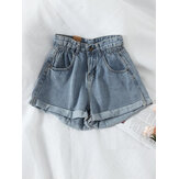 Casual Women Pocket Wide Leg Denim Shorts
