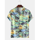 Mens Car Pattern Motel Landscape Casual Short Sleeve Shirts