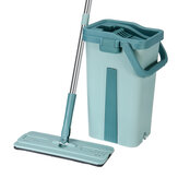 360° Flat Squeeze Microfiber Mop Bucket Set Home Floor Tiles Cleaning with Pads
