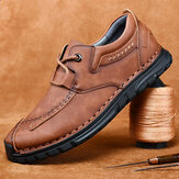 Men Retro Hand Stitching Cowhide Leather Non Slip Soft Sole Casual Shoes
