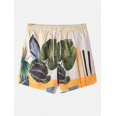 Pantalones cortos con cordón tropical con estampado informal de plantas para hombre