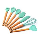 Conjunto de utensílios de cozinha de silicone Utensílios de cozinha Utensílios de mesa e utensílios de cozinha antiaderentes de madeira