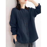 Women Cotton Simple Stand Collar Solid Long Sleeve Button Shirt