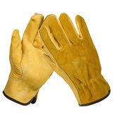 Gardening Gloves Thorn Proof Double Layer Leather Work Gloves Waterproof Slim-Fit Reinforced Rigger Gloves