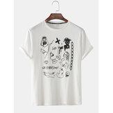 T-shirts amples à manches courtes imprimés graffiti pour hommes