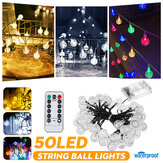 Outdoor 9.5M 50LEDs String Ball Light Remote Control 8 Modes Waterproof Garden Party Wedding Christmas Decor