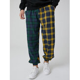 Mens 100% Cotton Contrast Plaid Patchwork Pocket Drawstring Jogger Pants