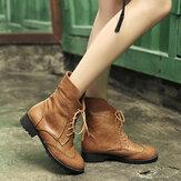المرأة جلد طبيعي مكبل كعب سميك أحذية الدانتيل متابعة الكاحل
