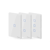 SONOFF® T2 EU / US / UK AC 100-240V 1/2/3 Gang TX Serie 433 Mhz WIFI Interruttore a parete RF Smart Touch Switch a parete per lavori domestici intelligenti con Alexa Google Home