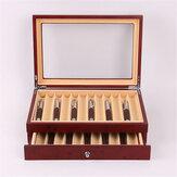 Scatola per penna stilografica in legno 12/23 Griglia in legno Display Portaoggetti per custodia Raccoglitore Organizzatore Scatola Nero Rosso