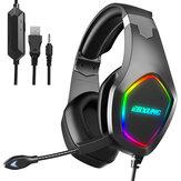 Auriculares para juegos ERXUNG J20 Unidad de controlador de 50 mm Sonido estéreo 3D Luz RGB Reducción de ruido Micrófono de 3,5 mm Puerto USB para PS4 PC Xbox One Interruptor Smartphone