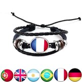 Unisex National Flag Patroon Armband Alloy Leather Tape Armband voor Mannen Vrouwen