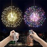 Werkt op batterijen 8 Modus Dimbaar LED Paardebloem Opknoping String Licht Zilver Draad Kerstdecor