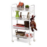 4/5-Tier Basket Stand Kitchen Bathroom Trolley Full-Metal Rolling Food Storage Cart with Lockable Wheels 4 Side Hooks