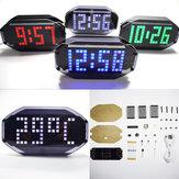 Geekcreit® Kit Fai Da Te Orologio Sveglia da Tavolo a Matrice LED Specchio Nero con Visualizzazione di Temperatura e Funzione di Notifica di Festa Compleanno