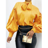 Women Solid Color Bowknot Long Puffs Sleeve Vintage Blouse