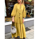 Women Casual Cotton Puff Sleeve Tassel Design Loose Maxi Dress