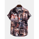Herren Casual Landscape Print Multi Pattern Turn Down Kragen Shirts