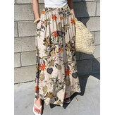Cintura elástica feminina estampa floral plissada casual perna larga Calças com bolso