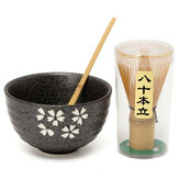 Natural Bamboo Matcha Green Tea Powder Plus Optional Whisk, Scoop, Bowl Set