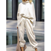 Women Plain Loose High Neck Tops Harem Pants Casual  Two-Piece Set