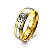Kalp Altın Kristal Paslanmaz Çelik Parmak Yüzük Kadın Erkekler Takı için Düğün Tarih Hediyesi