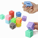 6/12 PCS Baby Grasp Rubber Squeeze Toy Developmental Model Building Learning Toys With Box Packing