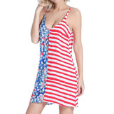 SWIMMART Women Loose Double V Star imprimé Stripe Backless Beach Dress Cover Up