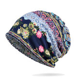Women Cotton Multi-purpose Flower Printing Beanie Cap Neck Gaiter Warm Face Shield Hats