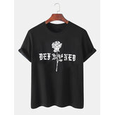 Casual Text & Rose Print Cotton Breathable Short Sleeve T-Shirts