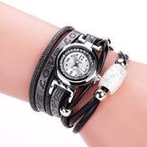 Модные роскошные стразы из искусственной кожи Женское кварцевые часы браслет часы