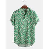Lustige Gänseblümchen Blumendruck Kurzarm Urlaub lässig Henley Shirts für Männer Damen