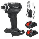 Drillpro 18V Tournevis électrique sans balais 3 lumières Tournevis rechargeable 3 vitesses avec 1 ou 2 pièces Batterie