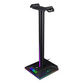 YEAHREAL Gaming Headset Stand Dual USB Port 3.5mm Audio Port RGB Touch Control Removable Headphone Stand Holder