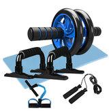 Nástroje na cvičení 5 v 1, sada Ab Roller Jump, lano, push-up bar, kolenní polštářek, břišní jádro, řezbář, fitness cvičení