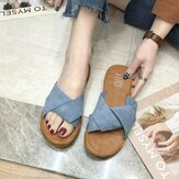 Womens Suede Casual Solid Color Comfortable Bottom Outdoor Slide Sandals