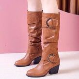 Plus Size Women Warm Lining Buckle Slip On Chunky Heel Mid Calf Boots