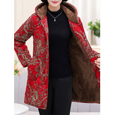 Winter Fleece Thicken Print Hooded Coats