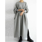 Women Side Split Solid Color Round Neck Sweatshirt Maxi Dresses With Pocket