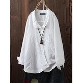 Damski Lapel Solid Color Cotton Button Down Bluzka