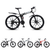 MYNUO 26 Inch 21-Speed Folding Mountain Bike 10 Blade Wheels Double Disc Brakes Shock Absorber Off-road Bike Adult Youth Outdoor Sprot