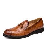 Men Brogue Tassel Decor Microfiber Leather Slip On Party Formal Shoes