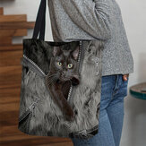 Women Canvas Three-dimensional Lovely Cute Cats Pattern Handbag Tote Shoulder Bag