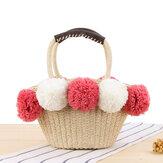 Women Travel Cute Contrast Plush Ball Straw Handbag