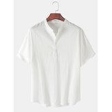 Camisas Henley simples de manga corta con cuello alto para hombre