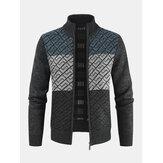 Jaqueta masculina de malha de malha com zíper colorblock quente de manga comprida